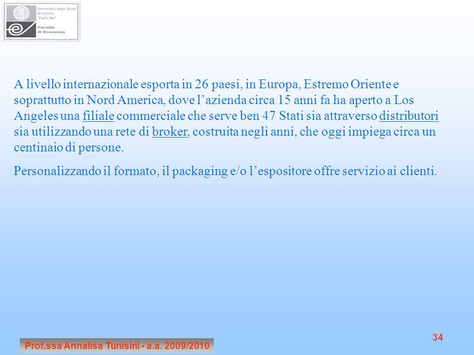 Prof.ssa Annalisa Tunisini - a.a. 2009/2010 34 A livello internazionale esporta in 26 paesi, in Europa, Estremo Oriente e soprattutto in Nord America,