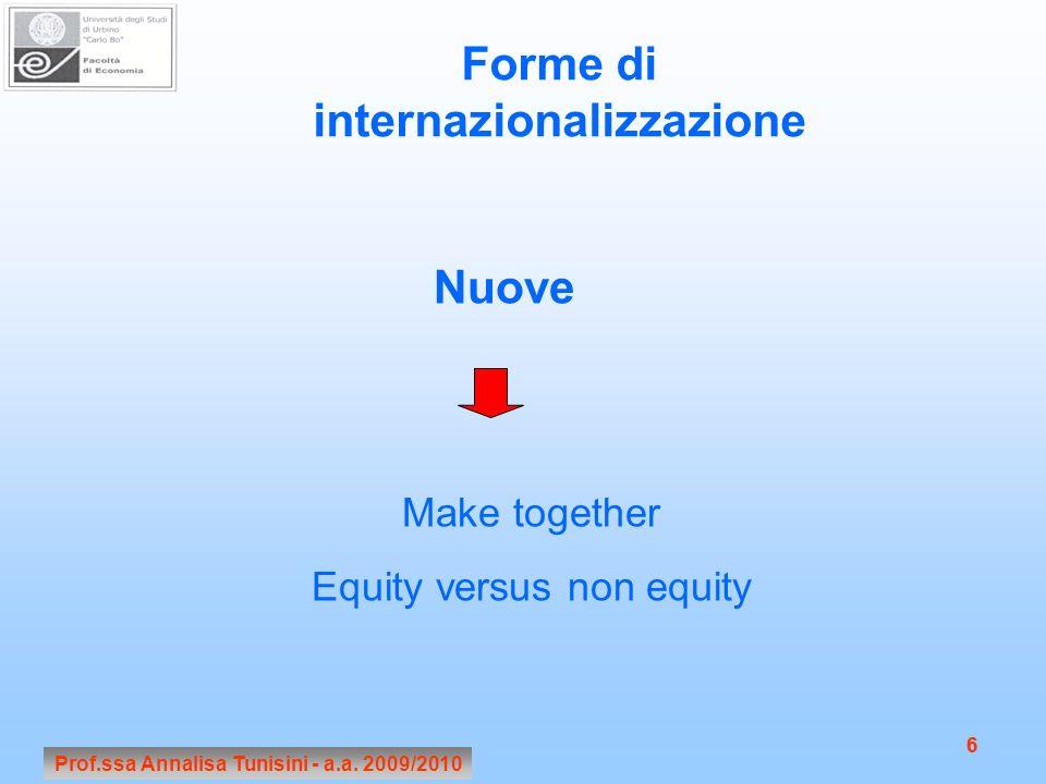 Prof.ssa Annalisa Tunisini - a.a. 2009/2010 6 6 Forme di internazionalizzazione Nuove Make together Equity versus non equity