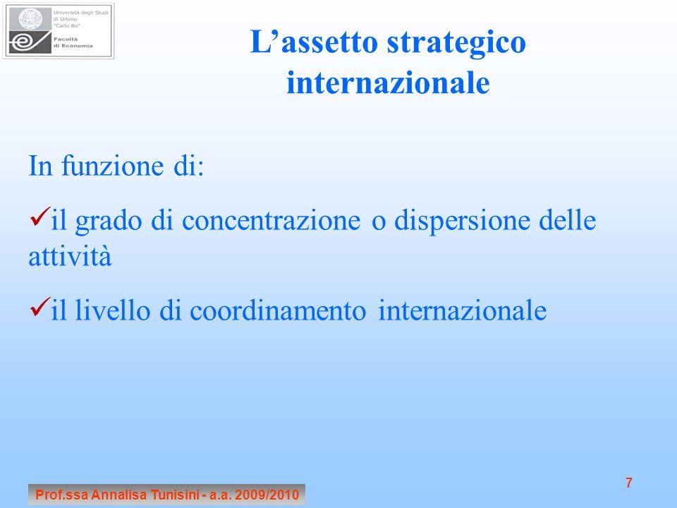 Prof.ssa Annalisa Tunisini - a.a. 2009/2010 7 Lassetto strategico internazionale In funzione di: il grado di concentrazione o dispersione delle attivi