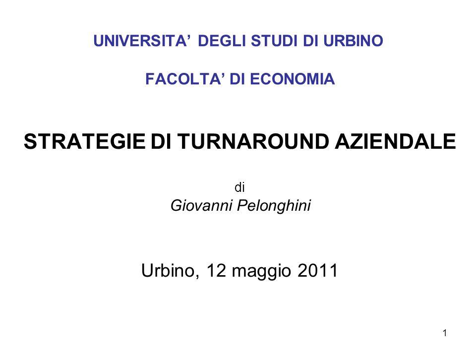 1 UNIVERSITA DEGLI STUDI DI URBINO FACOLTA DI ECONOMIA STRATEGIE DI TURNAROUND AZIENDALE di Giovanni Pelonghini Urbino, 12 maggio 2011