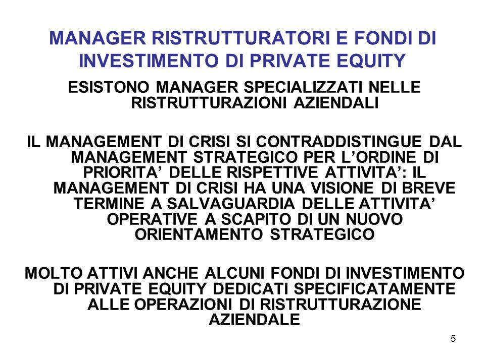 5 MANAGER RISTRUTTURATORI E FONDI DI INVESTIMENTO DI PRIVATE EQUITY ESISTONO MANAGER SPECIALIZZATI NELLE RISTRUTTURAZIONI AZIENDALI IL MANAGEMENT DI C