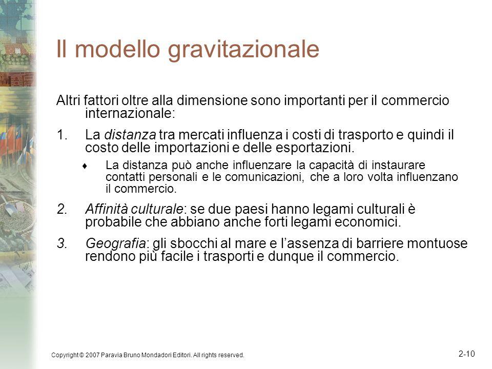 Copyright © 2007 Paravia Bruno Mondadori Editori. All rights reserved. 2-10 Il modello gravitazionale Altri fattori oltre alla dimensione sono importa