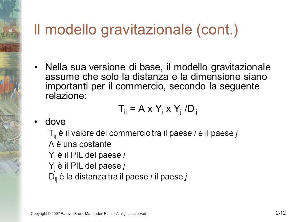Copyright © 2007 Paravia Bruno Mondadori Editori. All rights reserved. 2-12 Il modello gravitazionale (cont.) Nella sua versione di base, il modello g