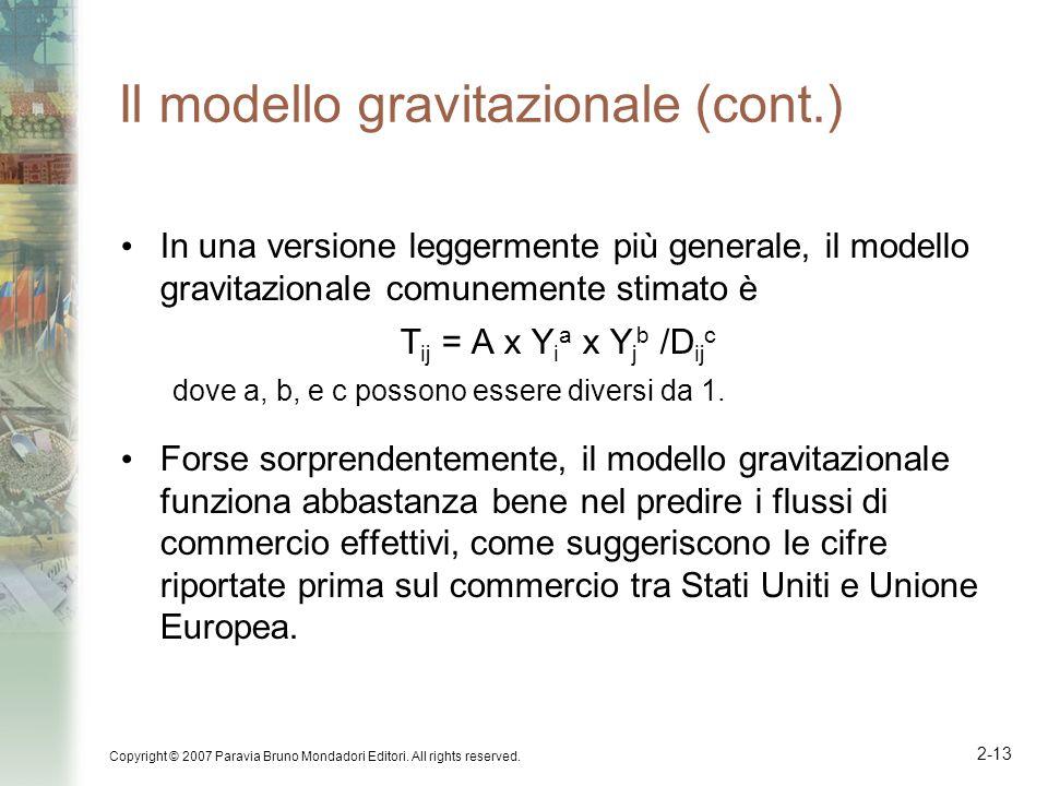 Copyright © 2007 Paravia Bruno Mondadori Editori. All rights reserved. 2-13 Il modello gravitazionale (cont.) In una versione leggermente più generale