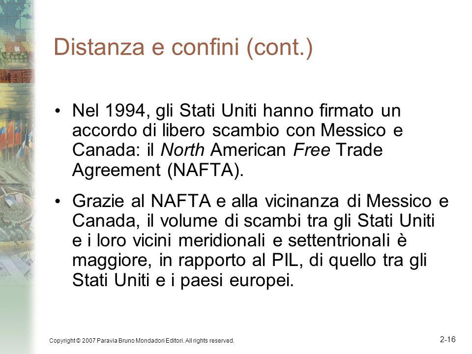 Copyright © 2007 Paravia Bruno Mondadori Editori. All rights reserved. 2-16 Distanza e confini (cont.) Nel 1994, gli Stati Uniti hanno firmato un acco