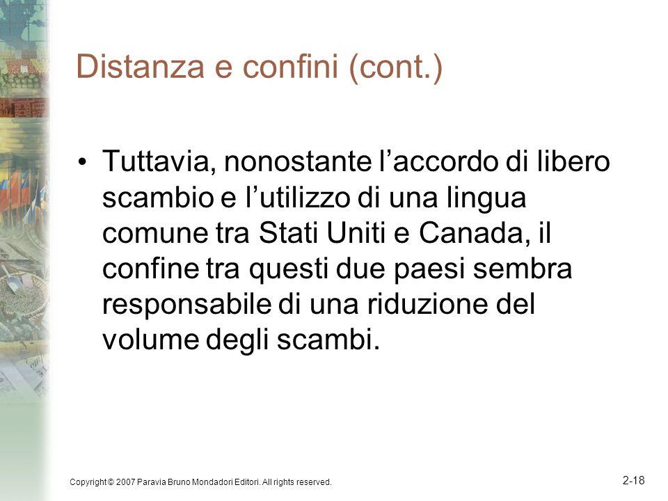 Copyright © 2007 Paravia Bruno Mondadori Editori. All rights reserved. 2-18 Distanza e confini (cont.) Tuttavia, nonostante laccordo di libero scambio