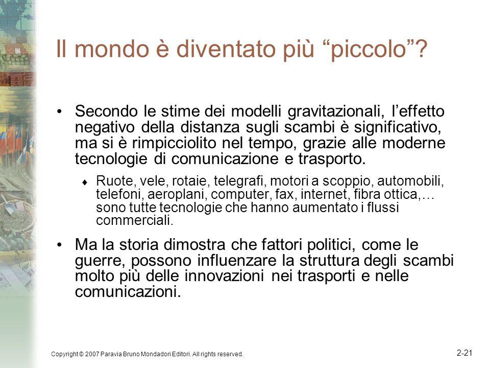 Copyright © 2007 Paravia Bruno Mondadori Editori. All rights reserved. 2-21 Il mondo è diventato più piccolo? Secondo le stime dei modelli gravitazion