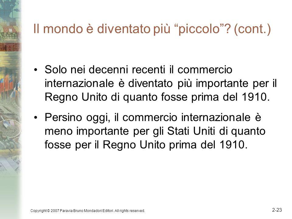 Copyright © 2007 Paravia Bruno Mondadori Editori. All rights reserved. 2-23 Il mondo è diventato più piccolo? (cont.) Solo nei decenni recenti il comm