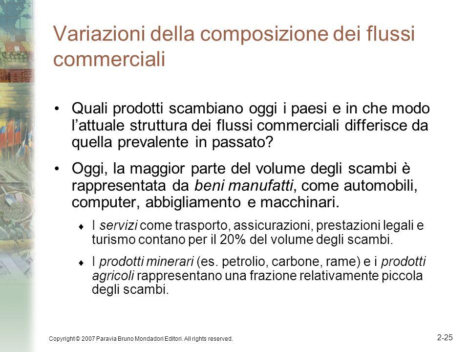 Copyright © 2007 Paravia Bruno Mondadori Editori. All rights reserved. 2-25 Variazioni della composizione dei flussi commerciali Quali prodotti scambi