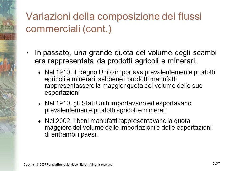 Copyright © 2007 Paravia Bruno Mondadori Editori. All rights reserved. 2-27 Variazioni della composizione dei flussi commerciali (cont.) In passato, u