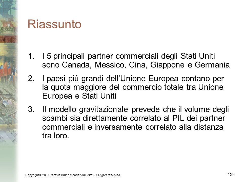 Copyright © 2007 Paravia Bruno Mondadori Editori. All rights reserved. 2-33 Riassunto 1.I 5 principali partner commerciali degli Stati Uniti sono Cana