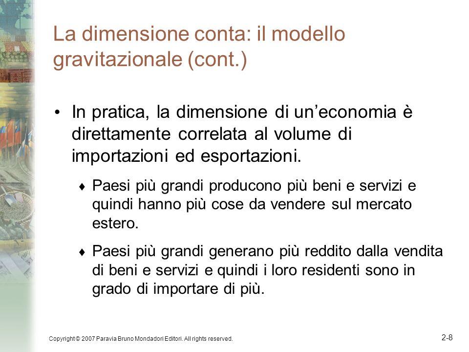 Copyright © 2007 Paravia Bruno Mondadori Editori. All rights reserved. 2-8 La dimensione conta: il modello gravitazionale (cont.) In pratica, la dimen