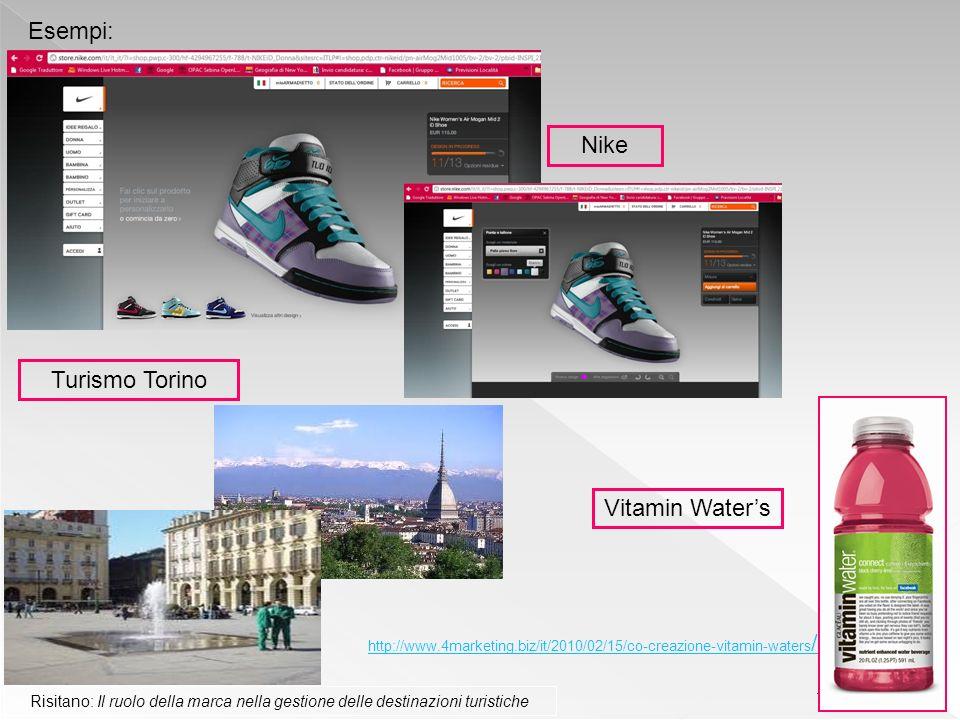 11 Esempi: Nike Turismo Torino Risitano: Il ruolo della marca nella gestione delle destinazioni turistiche Vitamin Waters http://www.4marketing.biz/it/2010/02/15/co-creazione-vitamin-waters /