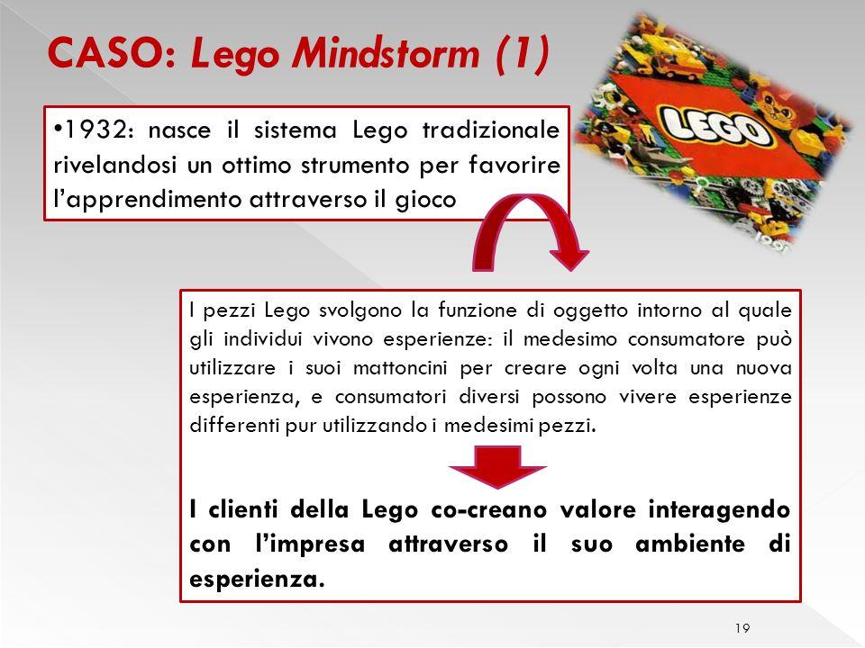 19 CASO: Lego Mindstorm (1) I pezzi Lego svolgono la funzione di oggetto intorno al quale gli individui vivono esperienze: il medesimo consumatore può utilizzare i suoi mattoncini per creare ogni volta una nuova esperienza, e consumatori diversi possono vivere esperienze differenti pur utilizzando i medesimi pezzi.