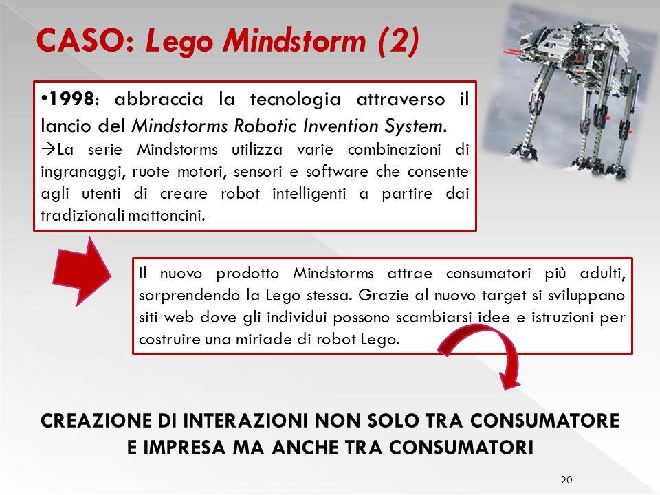 20 CASO: Lego Mindstorm (2) Il nuovo prodotto Mindstorms attrae consumatori più adulti, sorprendendo la Lego stessa.