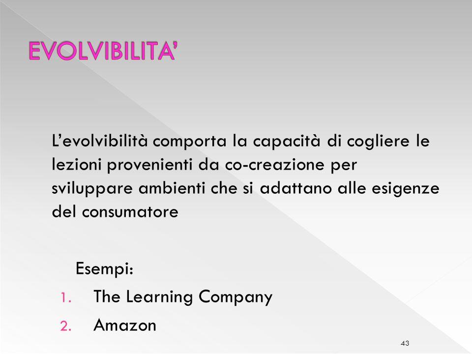 43 Levolvibilità comporta la capacità di cogliere le lezioni provenienti da co-creazione per sviluppare ambienti che si adattano alle esigenze del consumatore Esempi: 1.