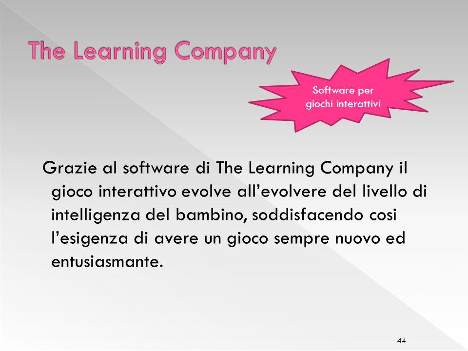 44 Grazie al software di The Learning Company il gioco interattivo evolve allevolvere del livello di intelligenza del bambino, soddisfacendo cosi lesigenza di avere un gioco sempre nuovo ed entusiasmante.