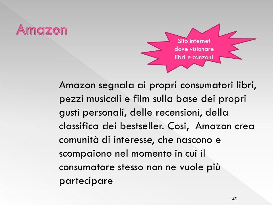 45 Amazon segnala ai propri consumatori libri, pezzi musicali e film sulla base dei propri gusti personali, delle recensioni, della classifica dei bestseller.