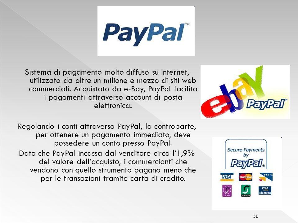 58 Sistema di pagamento molto diffuso su Internet, utilizzato da oltre un milione e mezzo di siti web commerciali.
