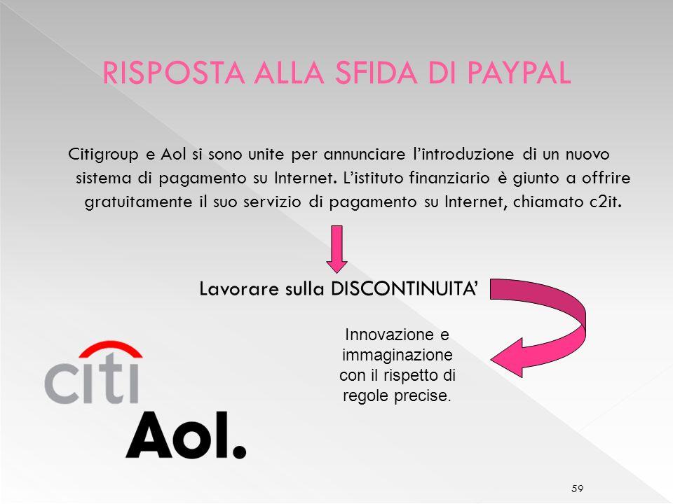 59 Citigroup e Aol si sono unite per annunciare lintroduzione di un nuovo sistema di pagamento su Internet.