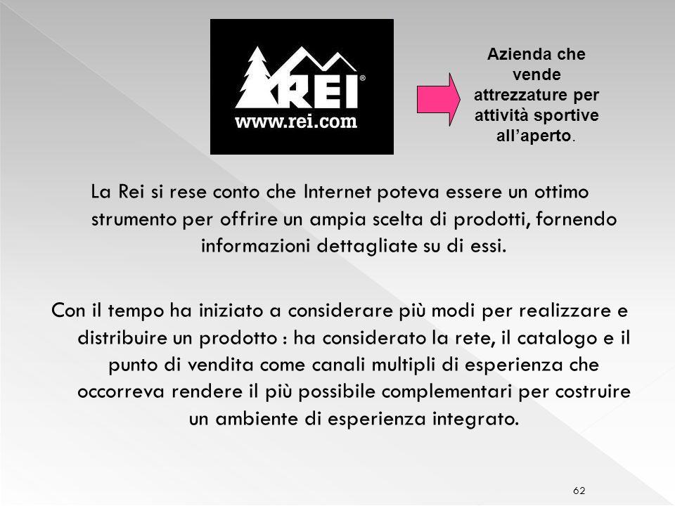 62 La Rei si rese conto che Internet poteva essere un ottimo strumento per offrire un ampia scelta di prodotti, fornendo informazioni dettagliate su di essi.