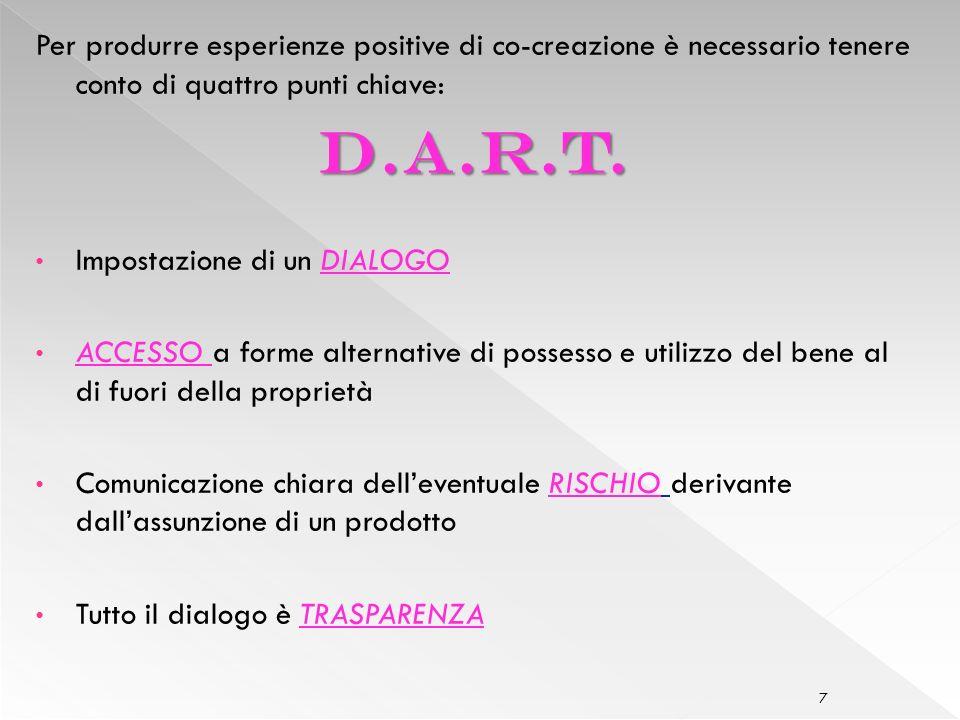 7 Per produrre esperienze positive di co-creazione è necessario tenere conto di quattro punti chiave: D.a.r.t.