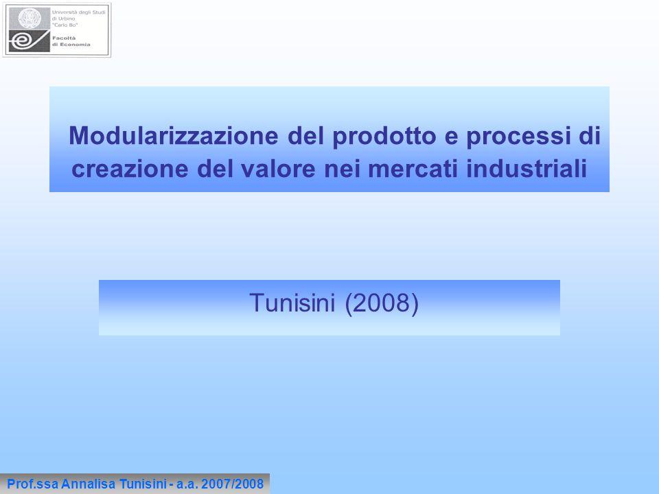 Modularizzazione del prodotto e processi di creazione del valore nei mercati industriali Tunisini (2008) Prof.ssa Annalisa Tunisini - a.a. 2007/2008