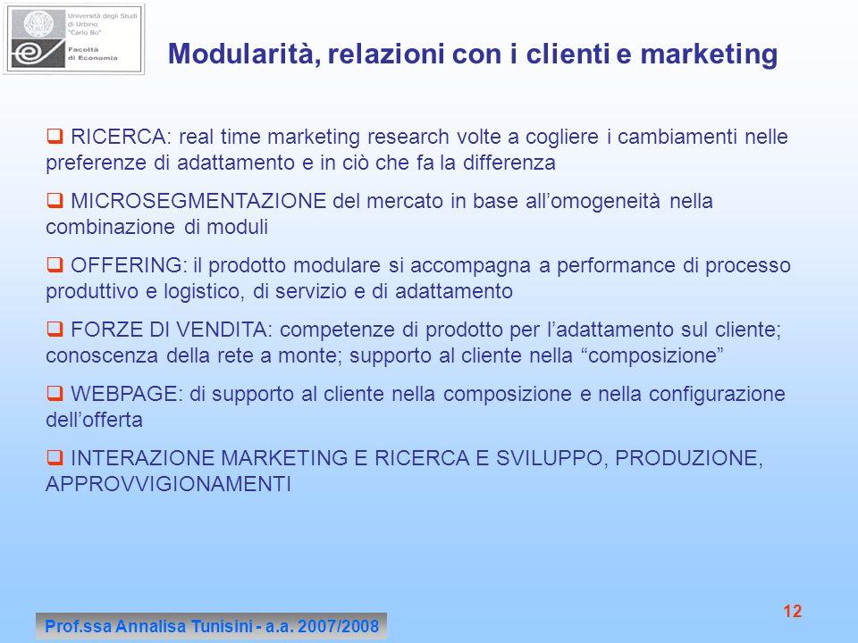 Prof.ssa Annalisa Tunisini - a.a. 2007/2008 12 Modularità, relazioni con i clienti e marketing RICERCA: real time marketing research volte a cogliere