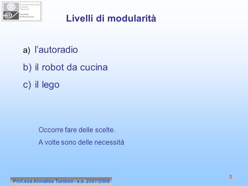 Prof.ssa Annalisa Tunisini - a.a. 2007/2008 3 Livelli di modularità a) lautoradio b) il robot da cucina c) il lego Occorre fare delle scelte. A volte