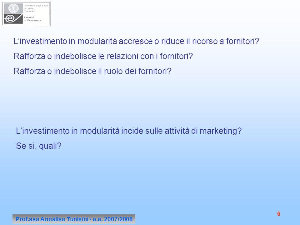 Prof.ssa Annalisa Tunisini - a.a. 2007/2008 6 Linvestimento in modularità accresce o riduce il ricorso a fornitori? Rafforza o indebolisce le relazion