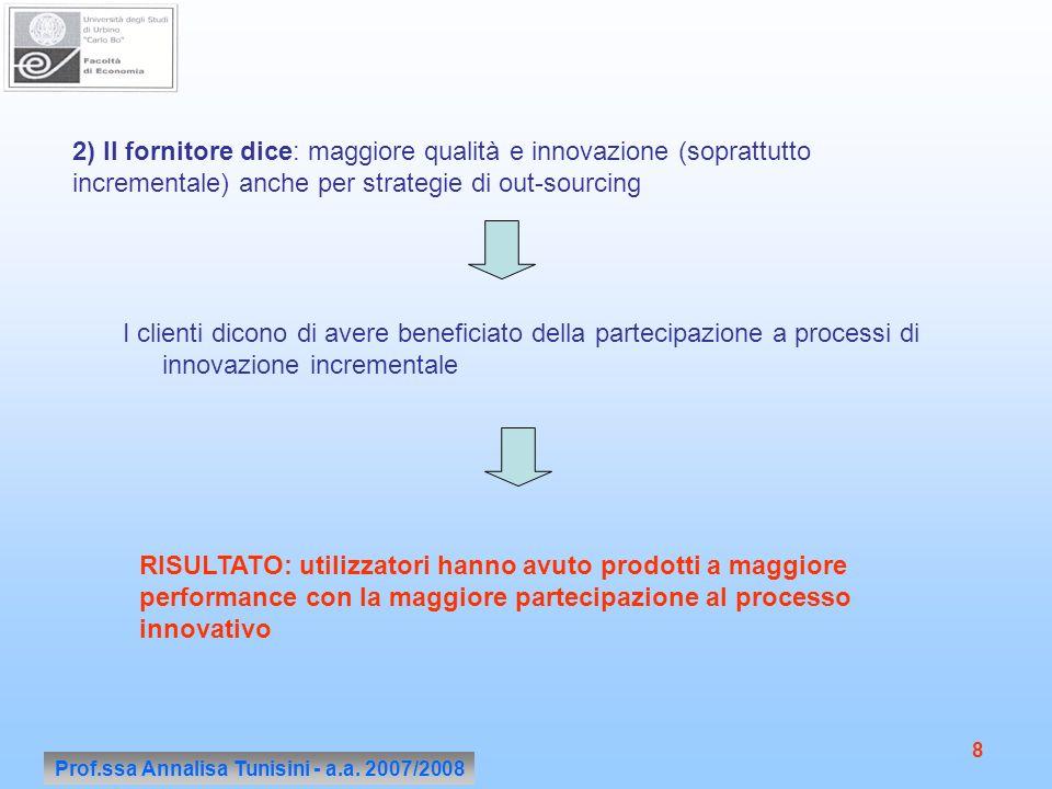 Prof.ssa Annalisa Tunisini - a.a. 2007/2008 8 2) Il fornitore dice: maggiore qualità e innovazione (soprattutto incrementale) anche per strategie di o