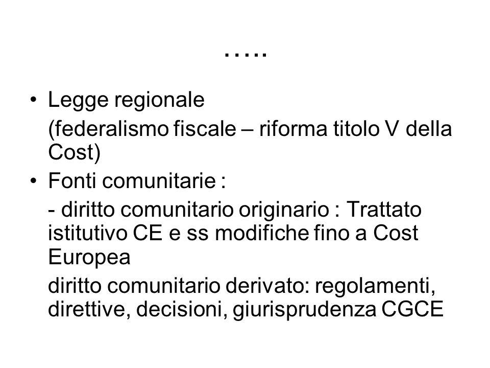 ….. Legge regionale (federalismo fiscale – riforma titolo V della Cost) Fonti comunitarie : - diritto comunitario originario : Trattato istitutivo CE