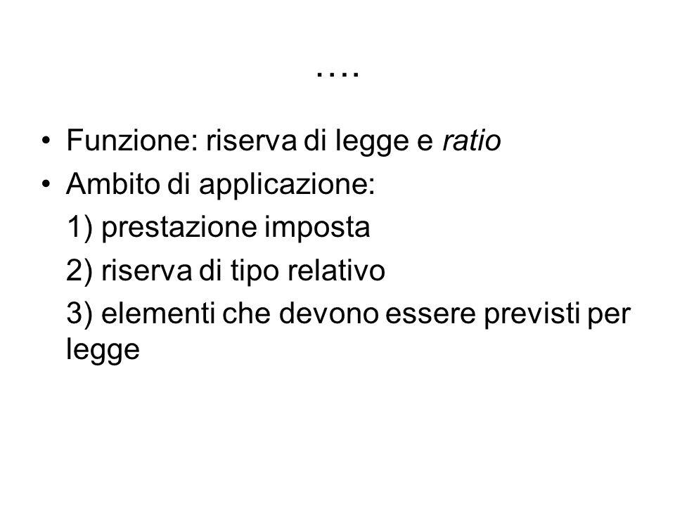 …. Funzione: riserva di legge e ratio Ambito di applicazione: 1) prestazione imposta 2) riserva di tipo relativo 3) elementi che devono essere previst