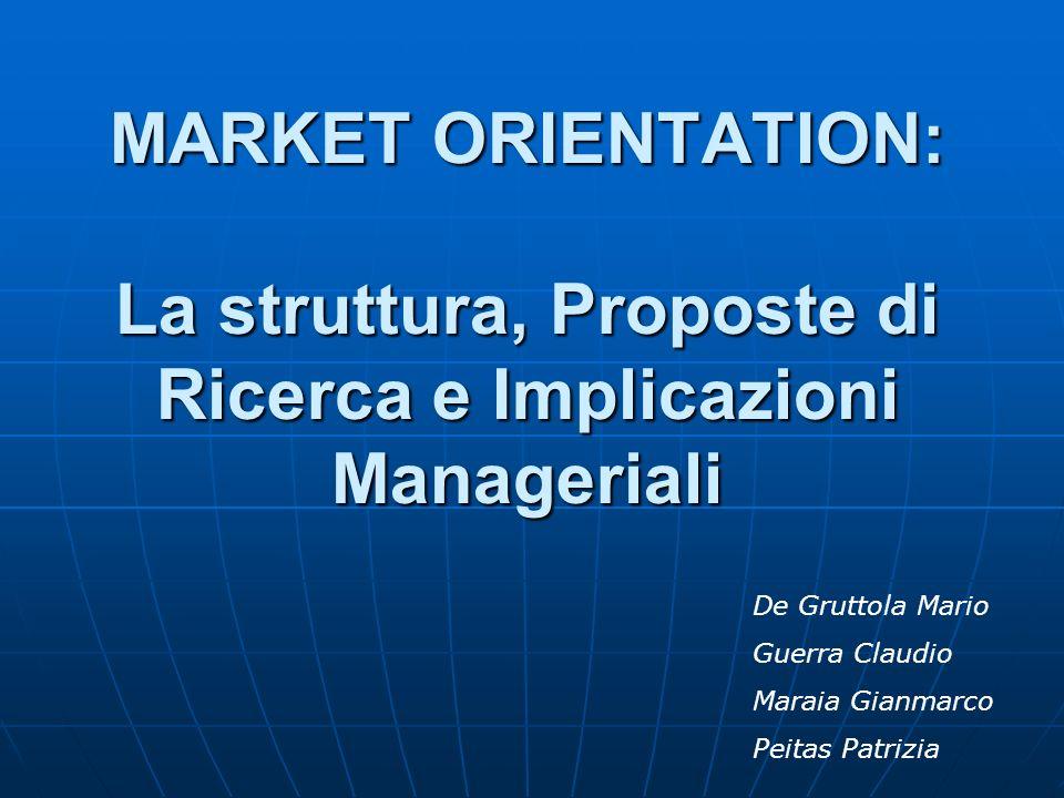 MARKET ORIENTATION: La struttura, Proposte di Ricerca e Implicazioni Manageriali De Gruttola Mario Guerra Claudio Maraia Gianmarco Peitas Patrizia