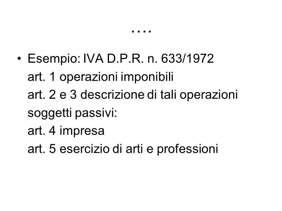 …. Esempio: IVA D.P.R. n. 633/1972 art. 1 operazioni imponibili art. 2 e 3 descrizione di tali operazioni soggetti passivi: art. 4 impresa art. 5 eser