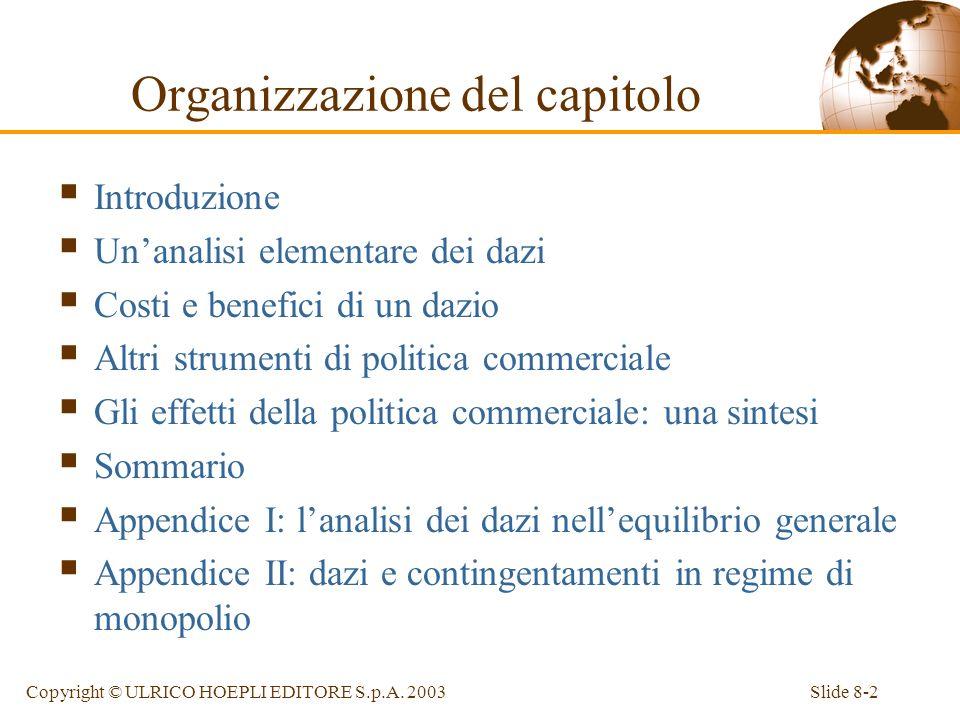 Slide 8-2Copyright © ULRICO HOEPLI EDITORE S.p.A. 2003 Introduzione Unanalisi elementare dei dazi Costi e benefici di un dazio Altri strumenti di poli