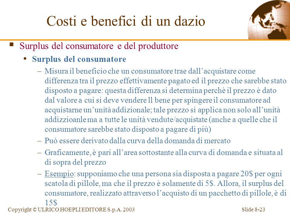 Slide 8-23Copyright © ULRICO HOEPLI EDITORE S.p.A. 2003 Surplus del consumatore e del produttore Surplus del consumatore –Misura il beneficio che un c
