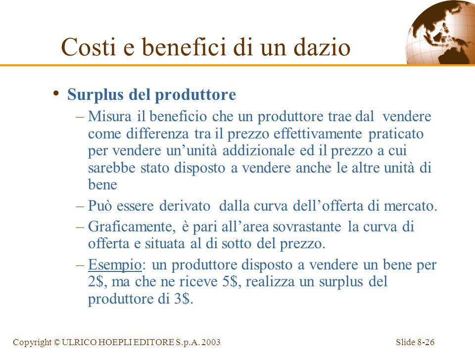Slide 8-26Copyright © ULRICO HOEPLI EDITORE S.p.A. 2003 Surplus del produttore –Misura il beneficio che un produttore trae dal vendere come differenza