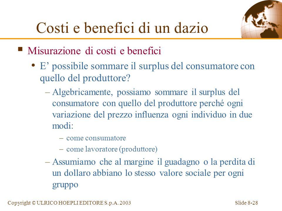 Slide 8-28Copyright © ULRICO HOEPLI EDITORE S.p.A. 2003 Costi e benefici di un dazio Misurazione di costi e benefici E possibile sommare il surplus de
