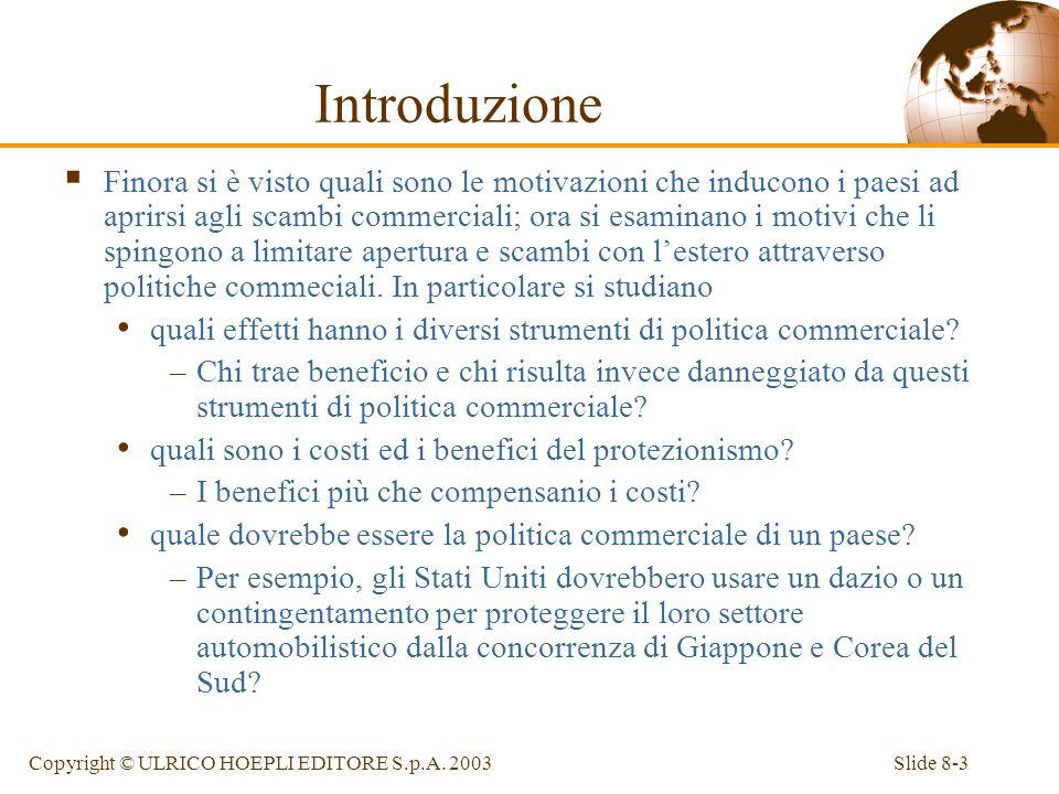 Slide 8-3Copyright © ULRICO HOEPLI EDITORE S.p.A. 2003 Introduzione Finora si è visto quali sono le motivazioni che inducono i paesi ad aprirsi agli s