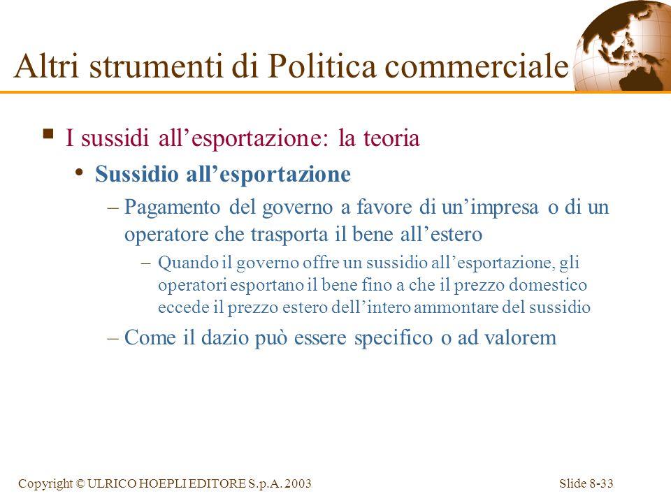 Slide 8-33Copyright © ULRICO HOEPLI EDITORE S.p.A. 2003 I sussidi allesportazione: la teoria Sussidio allesportazione –Pagamento del governo a favore