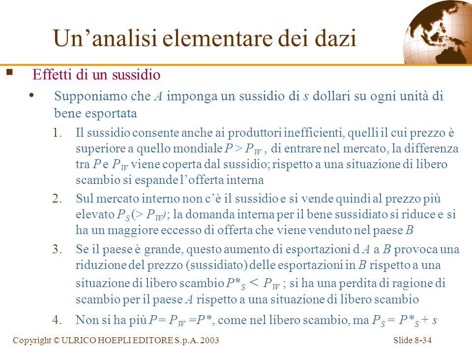 Slide 8-34Copyright © ULRICO HOEPLI EDITORE S.p.A. 2003 Effetti di un sussidio Supponiamo che A imponga un sussidio di s dollari su ogni unità di bene