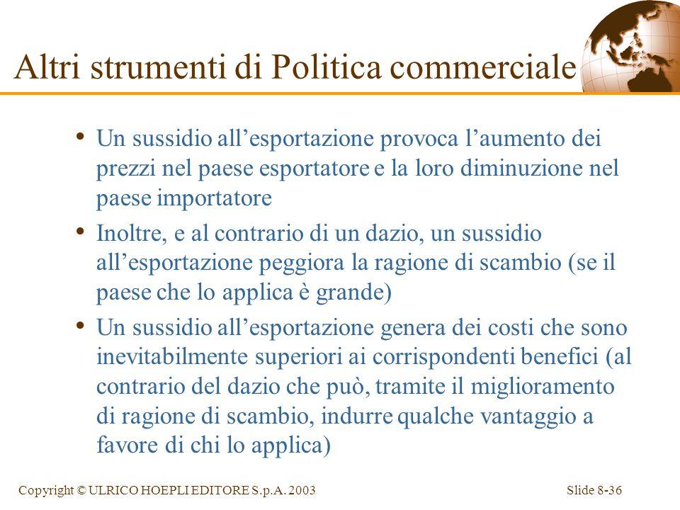 Slide 8-36Copyright © ULRICO HOEPLI EDITORE S.p.A. 2003 Un sussidio allesportazione provoca laumento dei prezzi nel paese esportatore e la loro diminu