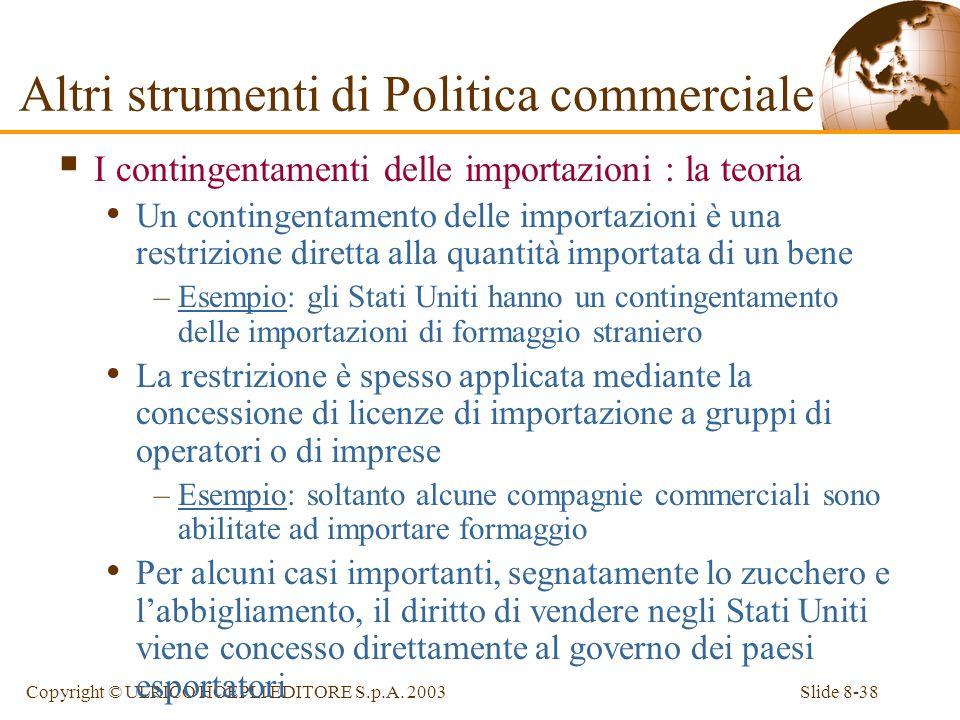 Slide 8-38Copyright © ULRICO HOEPLI EDITORE S.p.A. 2003 I contingentamenti delle importazioni : la teoria Un contingentamento delle importazioni è una