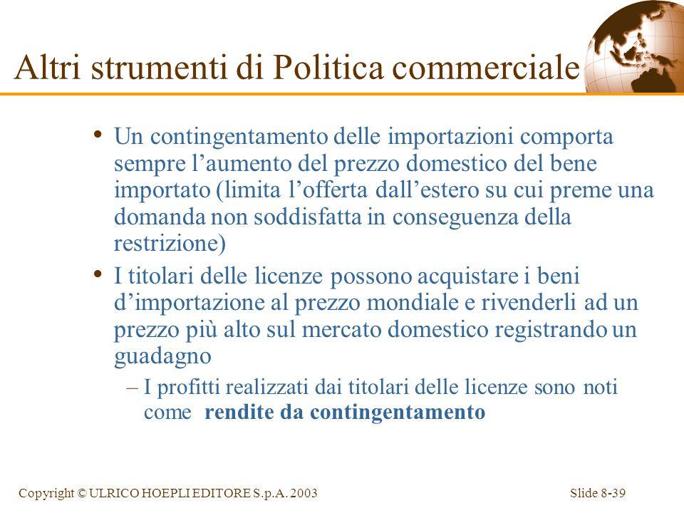 Slide 8-39Copyright © ULRICO HOEPLI EDITORE S.p.A. 2003 Un contingentamento delle importazioni comporta sempre laumento del prezzo domestico del bene