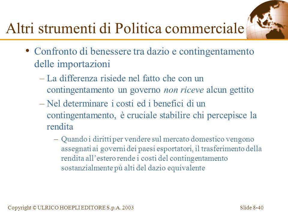 Slide 8-40Copyright © ULRICO HOEPLI EDITORE S.p.A. 2003 Confronto di benessere tra dazio e contingentamento delle importazioni –La differenza risiede