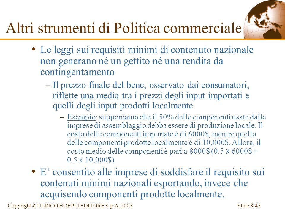 Slide 8-45Copyright © ULRICO HOEPLI EDITORE S.p.A. 2003 Le leggi sui requisiti minimi di contenuto nazionale non generano né un gettito né una rendita