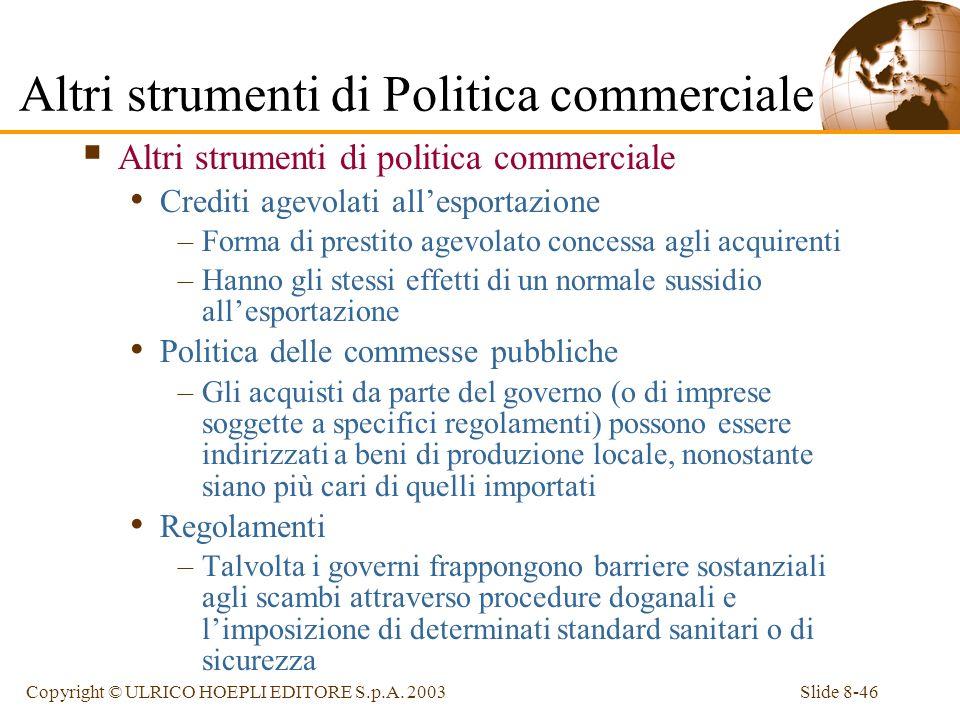 Slide 8-46Copyright © ULRICO HOEPLI EDITORE S.p.A. 2003 Altri strumenti di politica commerciale Crediti agevolati allesportazione –Forma di prestito a