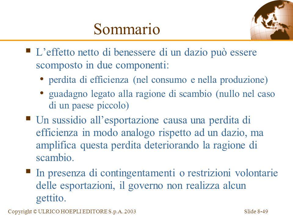 Slide 8-49Copyright © ULRICO HOEPLI EDITORE S.p.A. 2003 Sommario Leffetto netto di benessere di un dazio può essere scomposto in due componenti: perdi