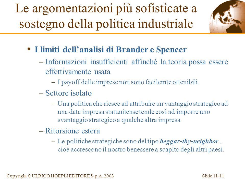 Slide 11-11Copyright © ULRICO HOEPLI EDITORE S.p.A. 2003 I limiti dellanalisi di Brander e Spencer –Informazioni insufficienti affinché la teoria poss
